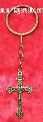 Antique Gold-Tone Crucifix Key Ring Holy Religious Jesus Christ Cross Keyring